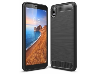 Xiaomi Redmi 7A Carbon Gummi Hülle TPU Thin Case flexibel schwarz