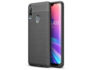 Asus Zenfone Max Pro M2 Leder Design Gummi Hülle Thin Case schwarz