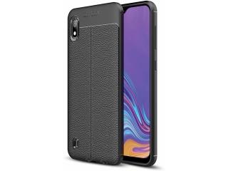Samsung Galaxy A10 Leder Design Gummi Hülle TPU Case Cover schwarz