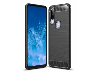 Motorola One Action Carbon Gummi Hülle TPU Thin Case Cover schwarz