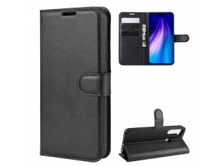 Xiaomi Redmi Note 8 Leder Hülle Portemonnaie Karten Ledertasche schwar