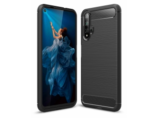 Huawei Nova 5T Carbon Gummi Hülle TPU Case Cover flexibel schwarz