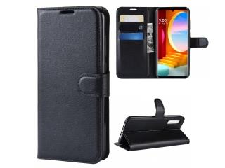 LG Velvet Leder Hülle Portemonnaie Karten Ledertasche schwarz