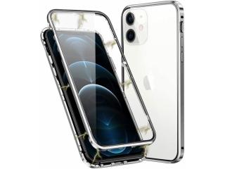 iPhone 12 Magnetische Alu Hülle Panzerglas Vorne & Hinten silber