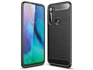 Motorola One Fusion+ Carbon Gummi Hülle Case Cover flexibel schwarz
