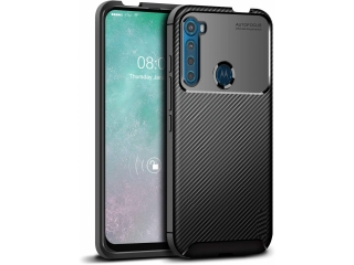 Motorola One Fusion+ Carbon Design Hülle TPU flexibel schwarz