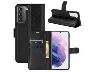 Samsung Galaxy S21 Leder Hülle Portemonnaie Karten Ledertasche schwarz