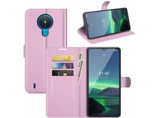 Nokia 1.4 Lederhülle Portemonnaie Karten Ledertasche rosa