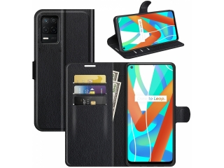 Realme 8 5G Lederhülle Portemonnaie Karten Ledertasche schwarz
