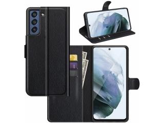 Samsung Galaxy S21 FE Lederhülle Portemonnaie Karten Lederetui schwarz