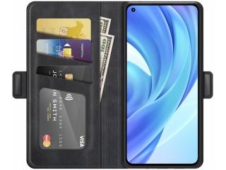 Xiaomi 11 Lite 5G NE Leder Hülle Karten Ledertasche schwarz
