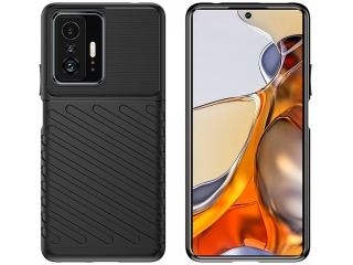 Xiaomi 11T Pro Stripes Anti Shock Case Hülle flexibel schwarz