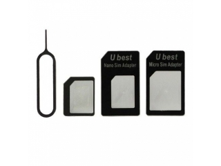 4 in 1 Nano Sim Adapter / Micro Sim zu Simkarte + iPhone Nadel Tray